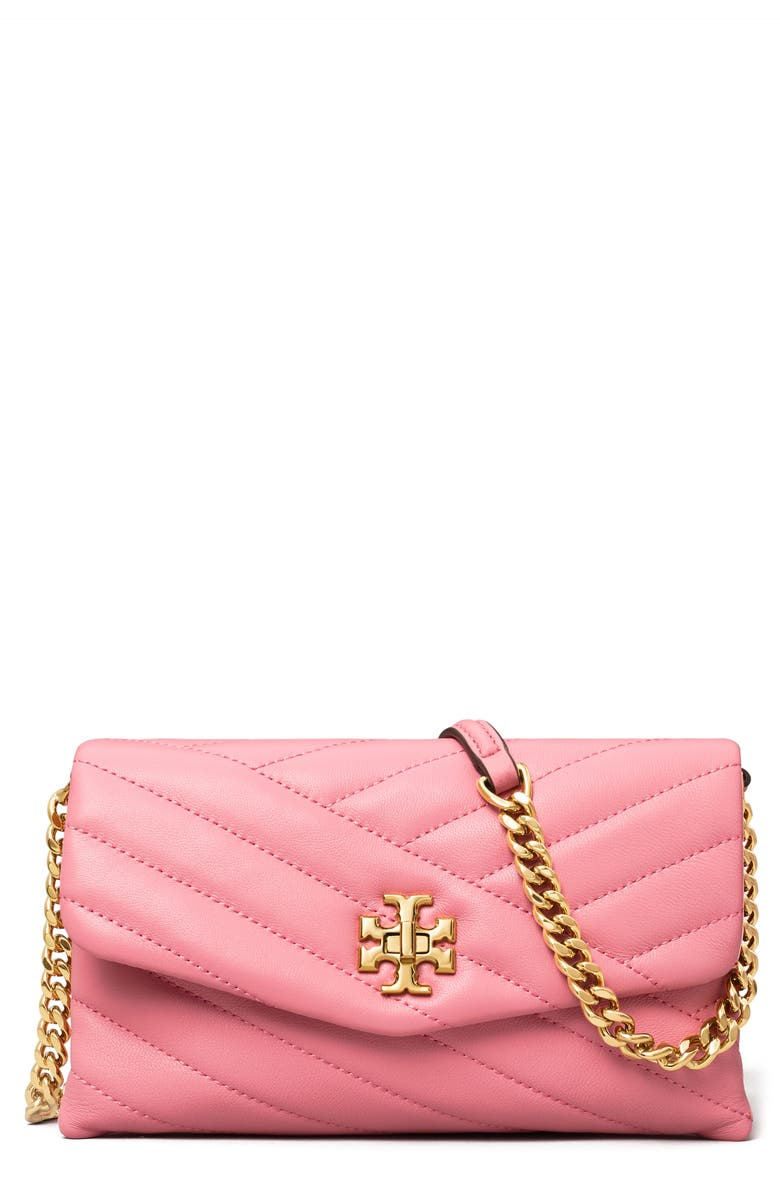 TORY BURCH Kira Chevron Quilted Leather Wallet on a Chain, Main, color, PINK CITY
