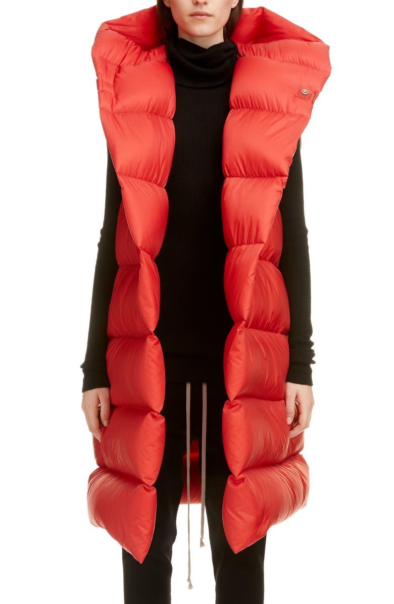 RICK OWENS Oversized Down Puffer Vest, Main, color, 600