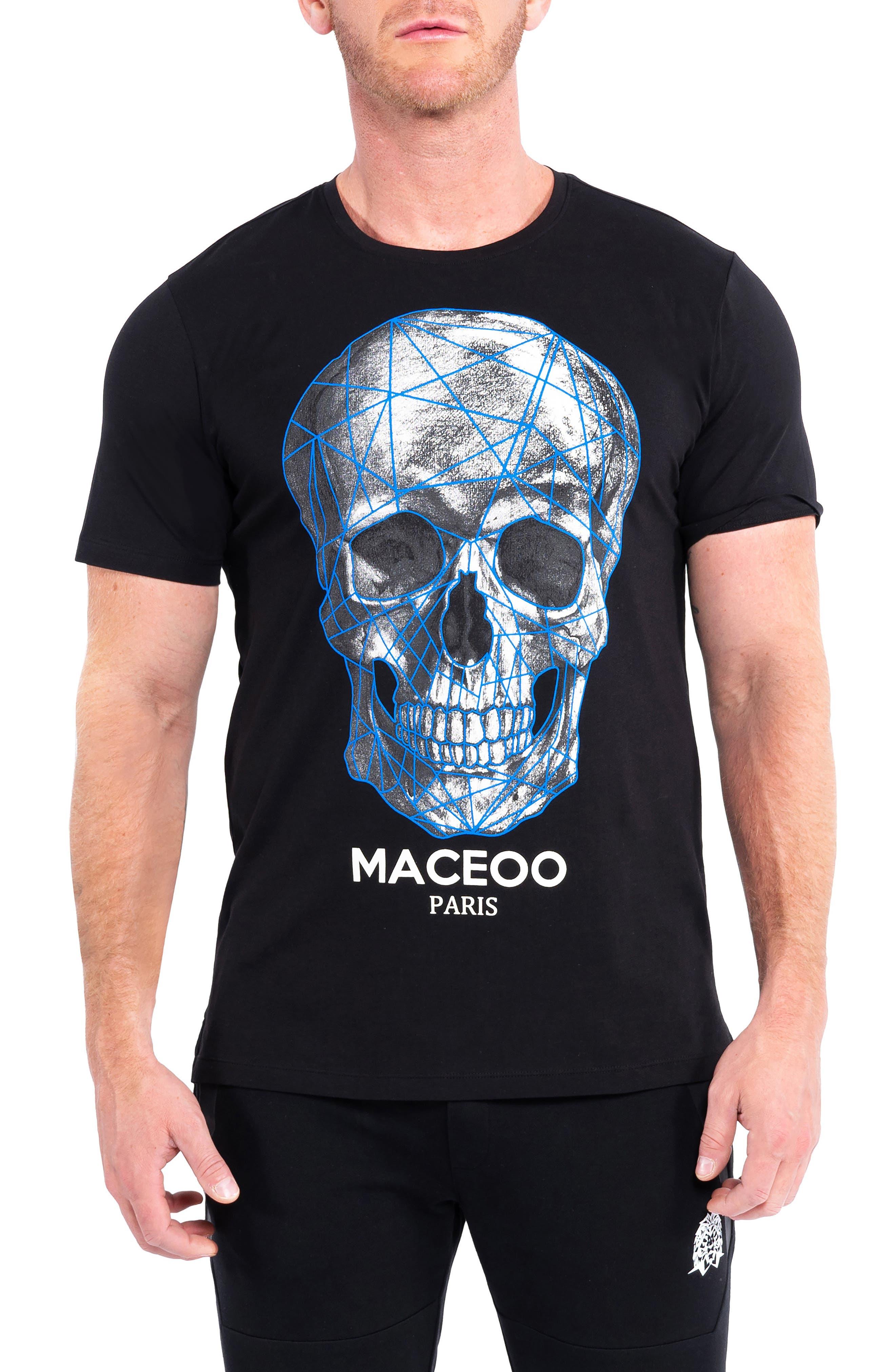 Skull Blue Black Graphic Tee