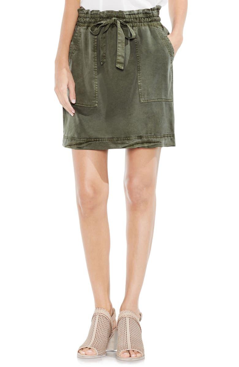 VINCE CAMUTO Drawstring Waist Tencel<sup>®</sup> Skirt, Main, color, HUNTER GREEN