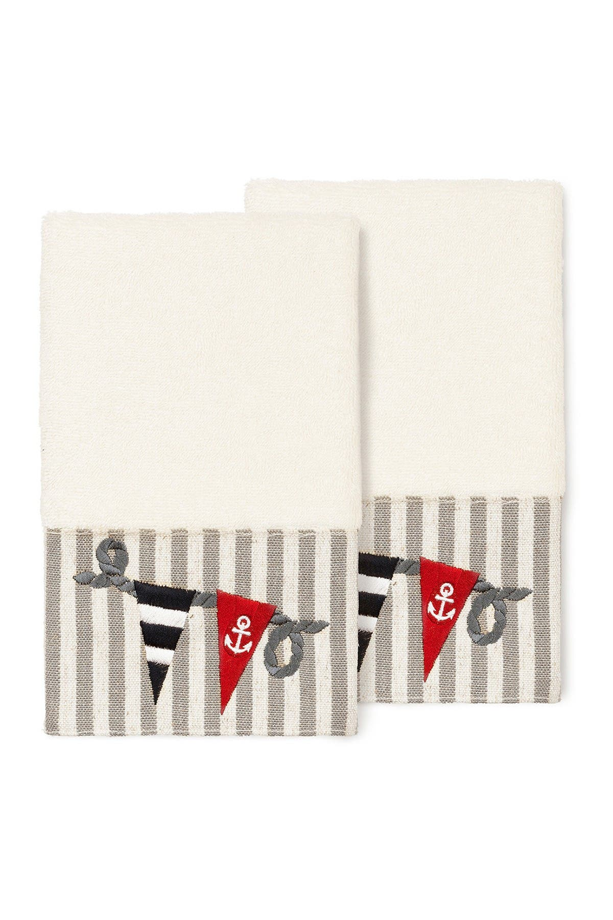 Image of LINUM HOME Ethan Embellished Hand Towel - Set of 2 - Cream