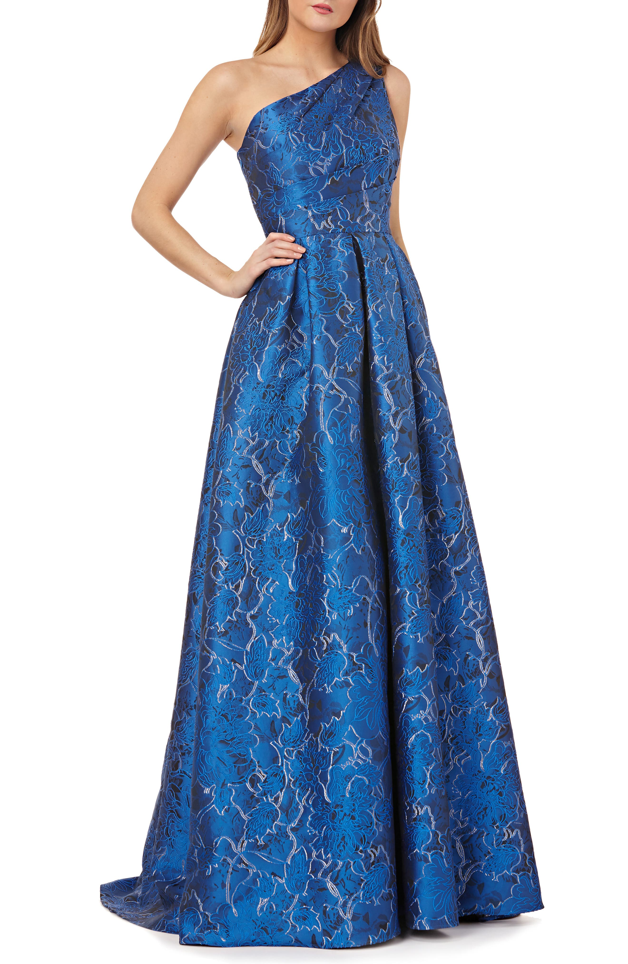 Carmen Marc Valvo Infusion One-Shoulder Ball Gown, Blue