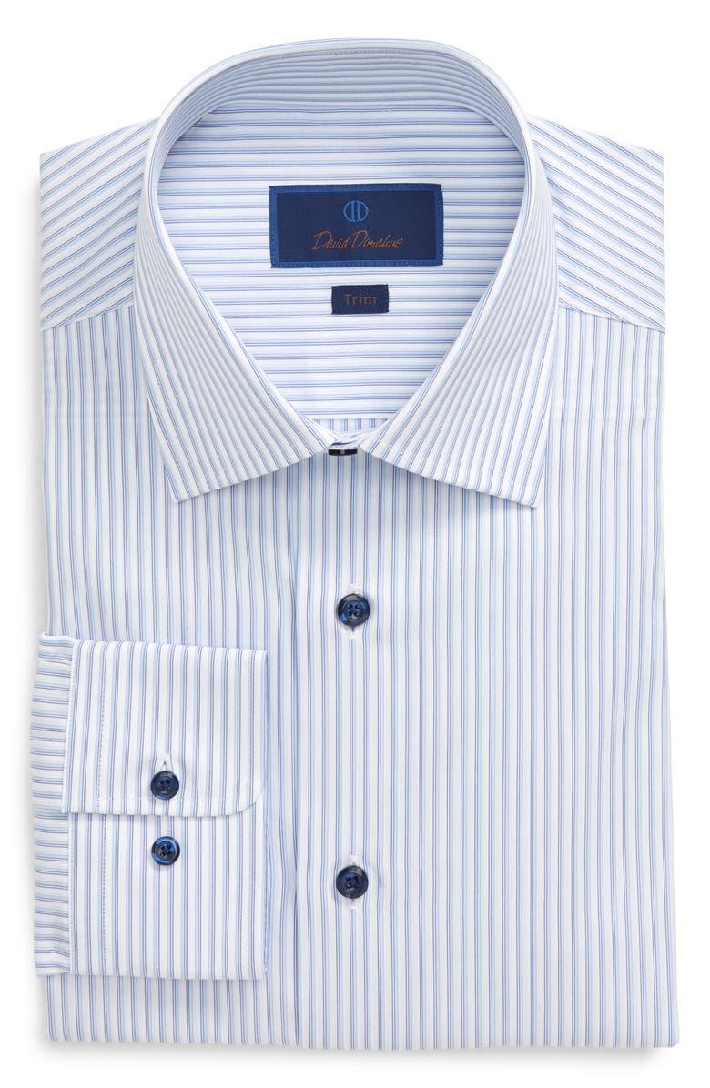 DAVID DONAHUE Trim Fit Stripe Dress Shirt, Main, color, BLUE
