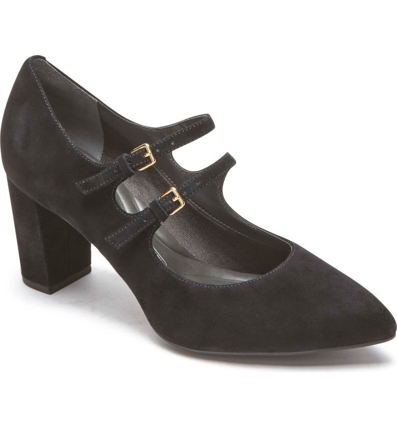 ROCKPORT Violina Luxe Double Strap Mary Jane Pump, Main, color, BLACK SUEDE