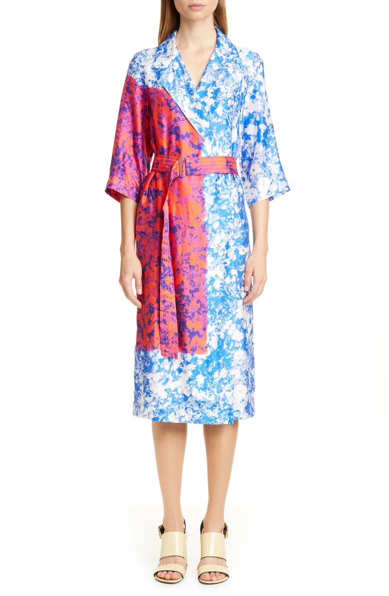 DRIES VAN NOTEN Duval Floral Print Wrap Midi Dress, Main, color, 400