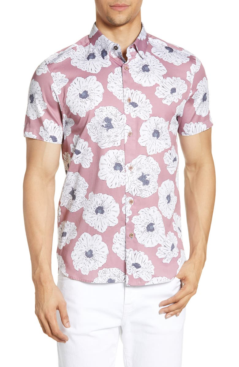 TED BAKER LONDON Leave Slim Fit Flower Print Short Sleeve Button-Down Shirt, Main, color, LILAC