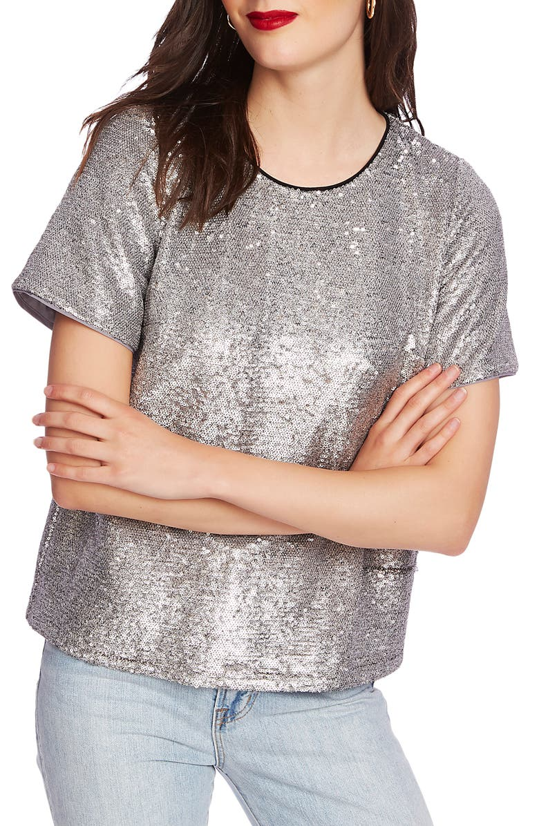 COURT & ROWE Sequin Short Sleeve Tee, Main, color, SILVER HTHR