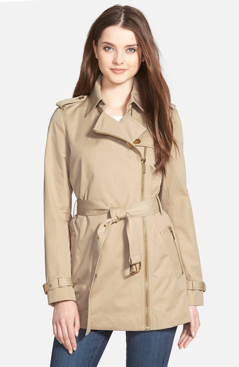 MICHAEL MICHAEL KORS Zip Front Short Trench Coat, Main, color, 250
