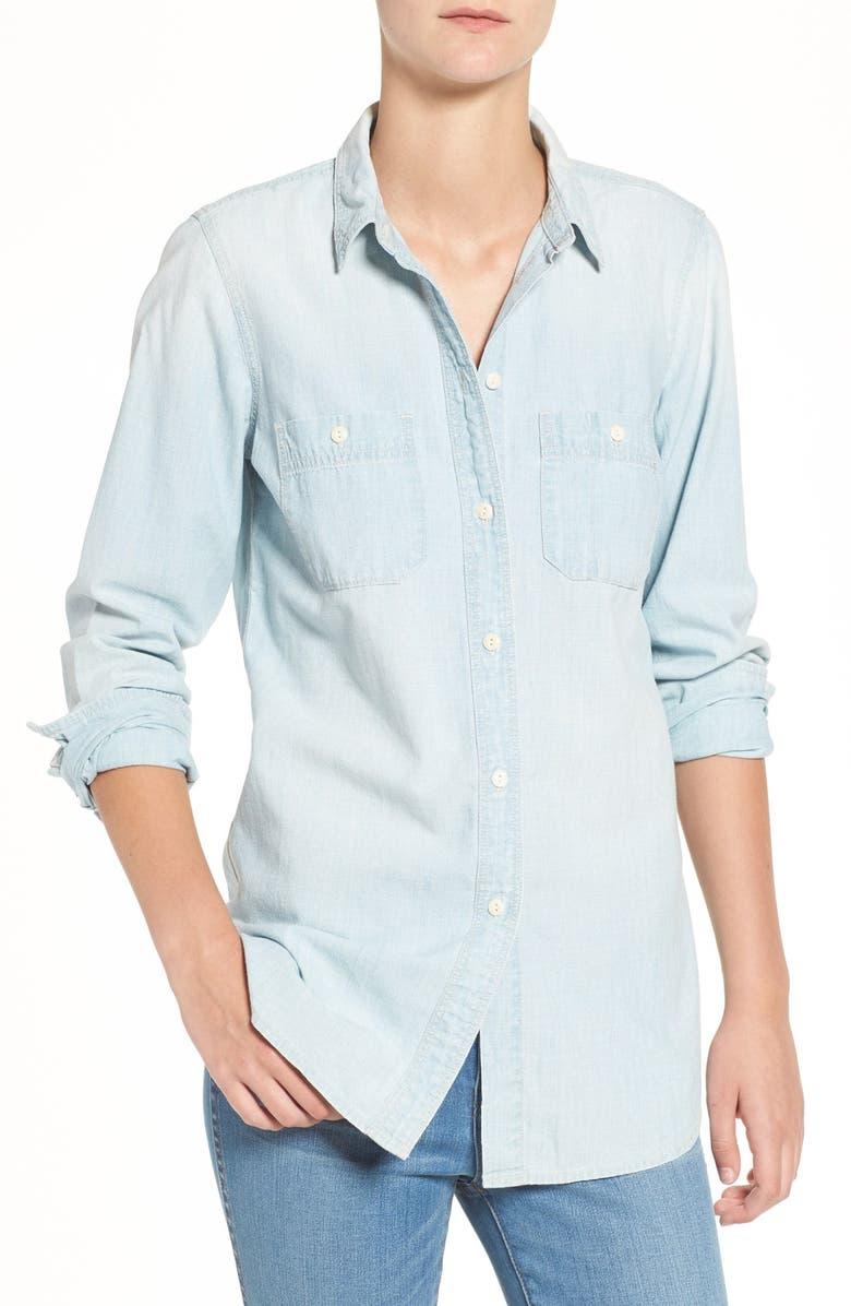 MADEWELL Ex-Boyfriend Slim Chambray Shirt, Main, color, 407