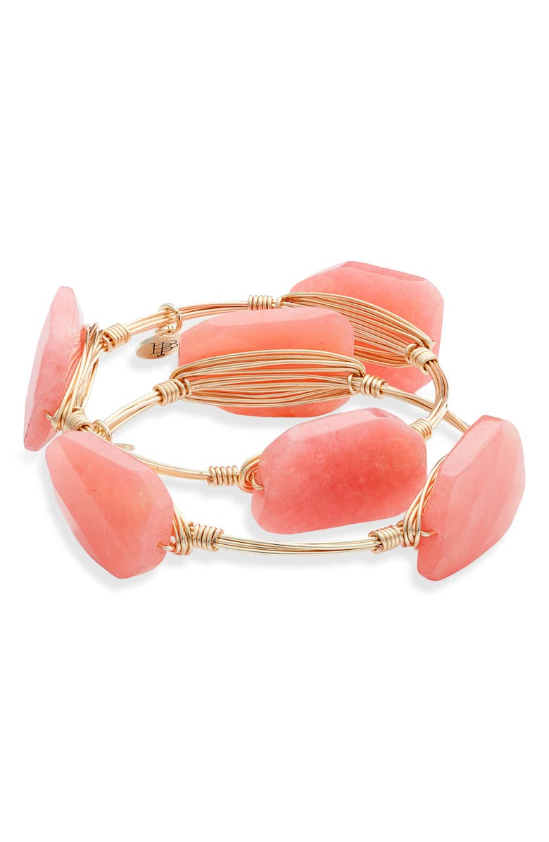 BOURBON AND BOWETIES 2-Pack Crystal Wire Bangles, Main, color, PINK