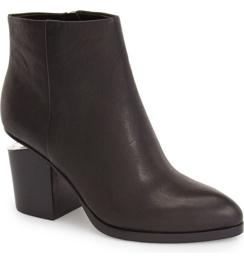 ALEXANDER WANG Gabi Leather Bootie, Main, color, BLACK LEATHER/ SILVER