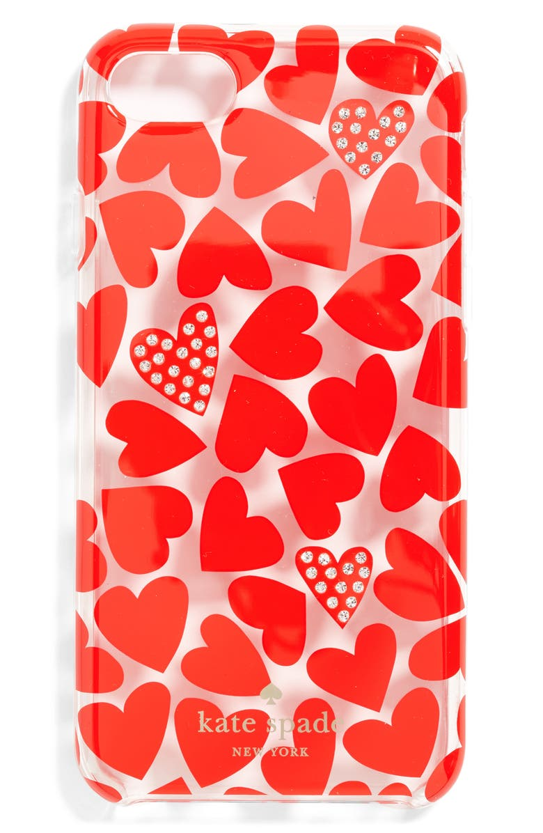 KATE SPADE NEW YORK scattered hearts iPhone 7 Case, Main, color, 600