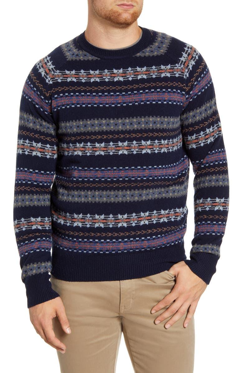 PETER MILLAR Mountainside Fair Isle Wool Blend Sweater, Main, color, NAVY