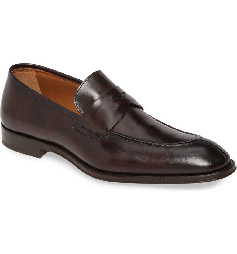 BRUNO MAGLI Luigi Penny Loafer, Main, color, DARK BROWN LEATHER