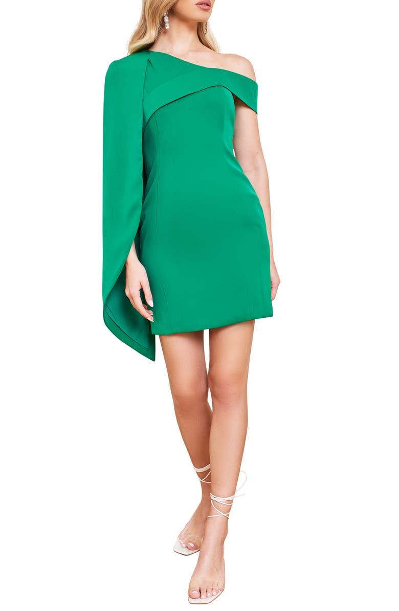 LAVISH ALICE One-Shoulder Half Cape Minidress, Main, color, 300