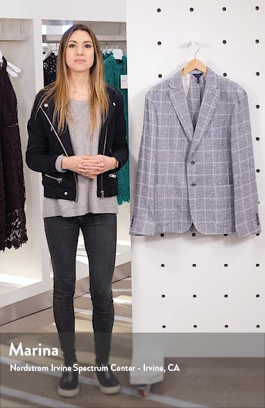 Downtown Slim Fit Linen Blend Windowpane Sport Coat, sales video thumbnail