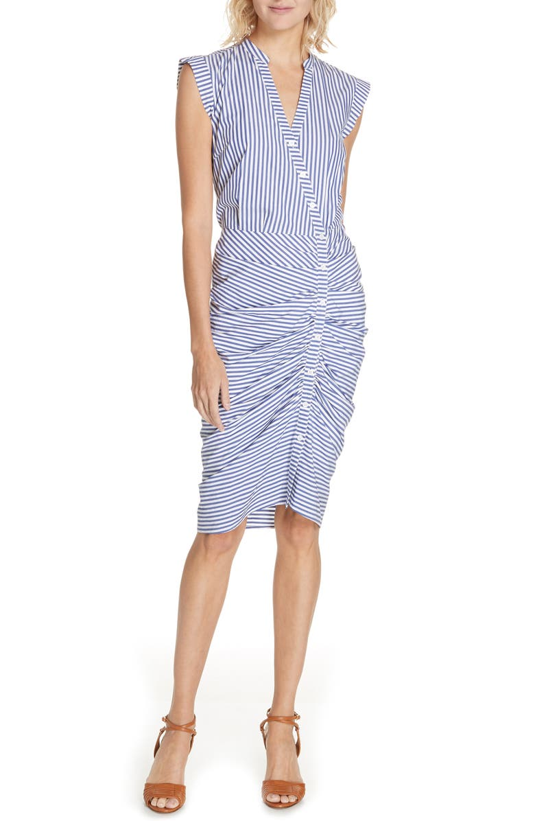 VERONICA BEARD Ruched Stripe Shirtdress, Main, color, BLUE/WHITE STRIPE