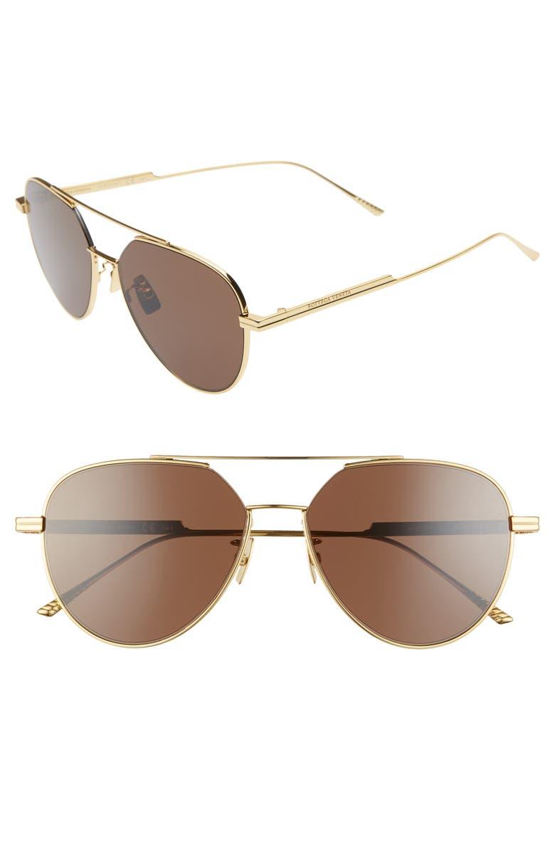 BOTTEGA VENETA 57mm Aviator Sunglasses, Main, color, GOLD/ BROWN