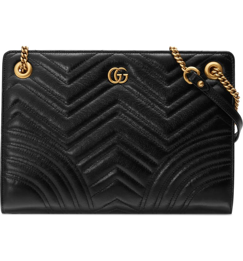 GUCCI Marmont Quilted Leather Tote, Main, color, NERO/ NERO