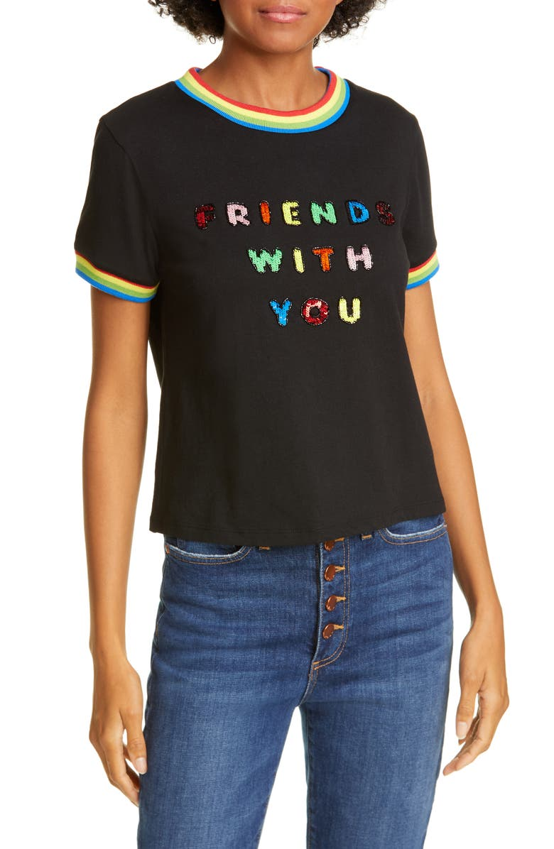 ALICE + OLIVIA Friends With You x Alice + Olivia Rylyn Sequin Cotton Tee, Main, color, BLACK MULTI