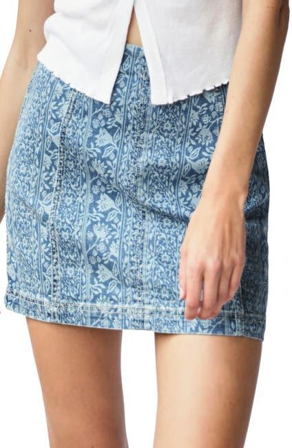 Image of Free People Modern Femme Floral Denim Mini Skirt