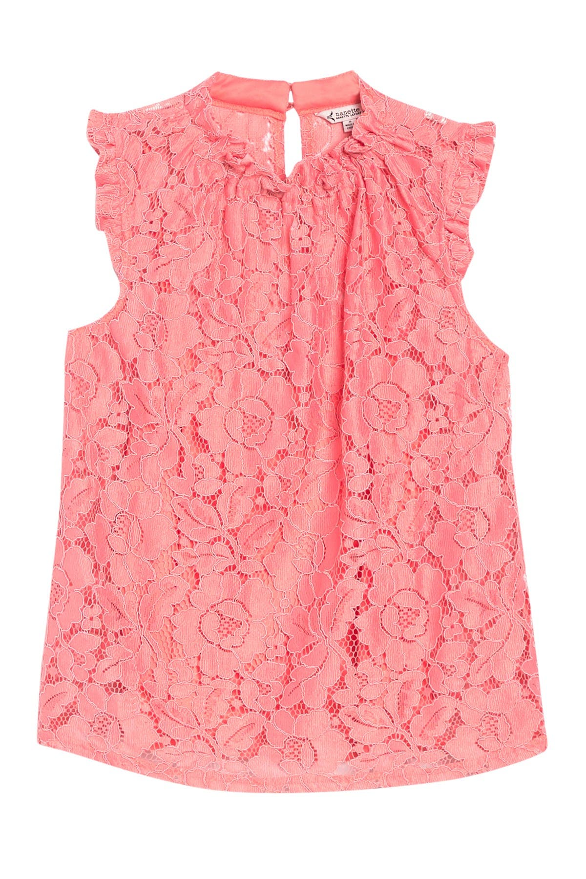 Image of NANETTE nanette lepore Floral Lace Shirred Ruffle Blouse