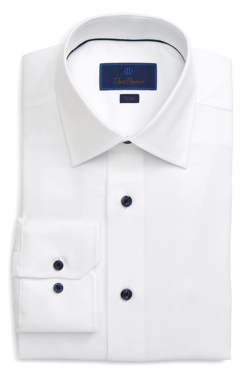 DAVID DONAHUE Trim Fit Dress Shirt, Main, color, WHITE