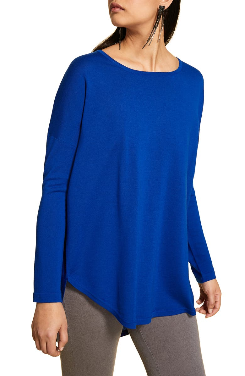 MARINA RINALDI Arte Pleated Back Sweater, Main, color, CHINA BLUE