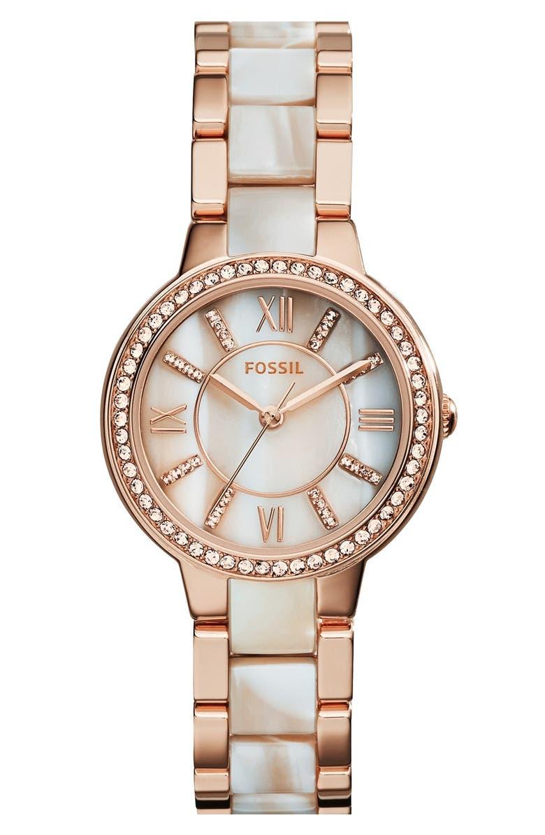 Fossil Virginia Resin Link Crystal Bezel Bracelet Watch 30mm