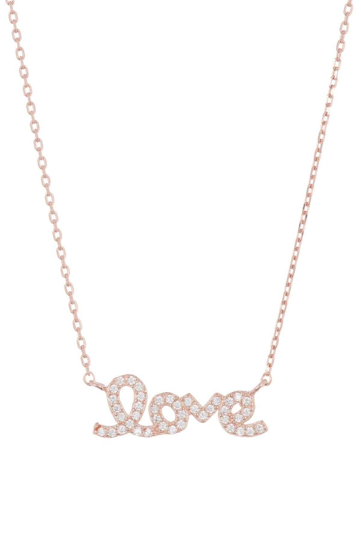 Adornia 14k Rose Gold Plated Sterling Silver Cursive Love Pendant Necklace Nordstrom Rack