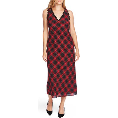 Vince Camuto Elegant Tartan Sleeveless Midi Dress, Black