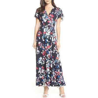 French Connection Linosa Floral Print Faux Wrap Maxi Dress, Blue