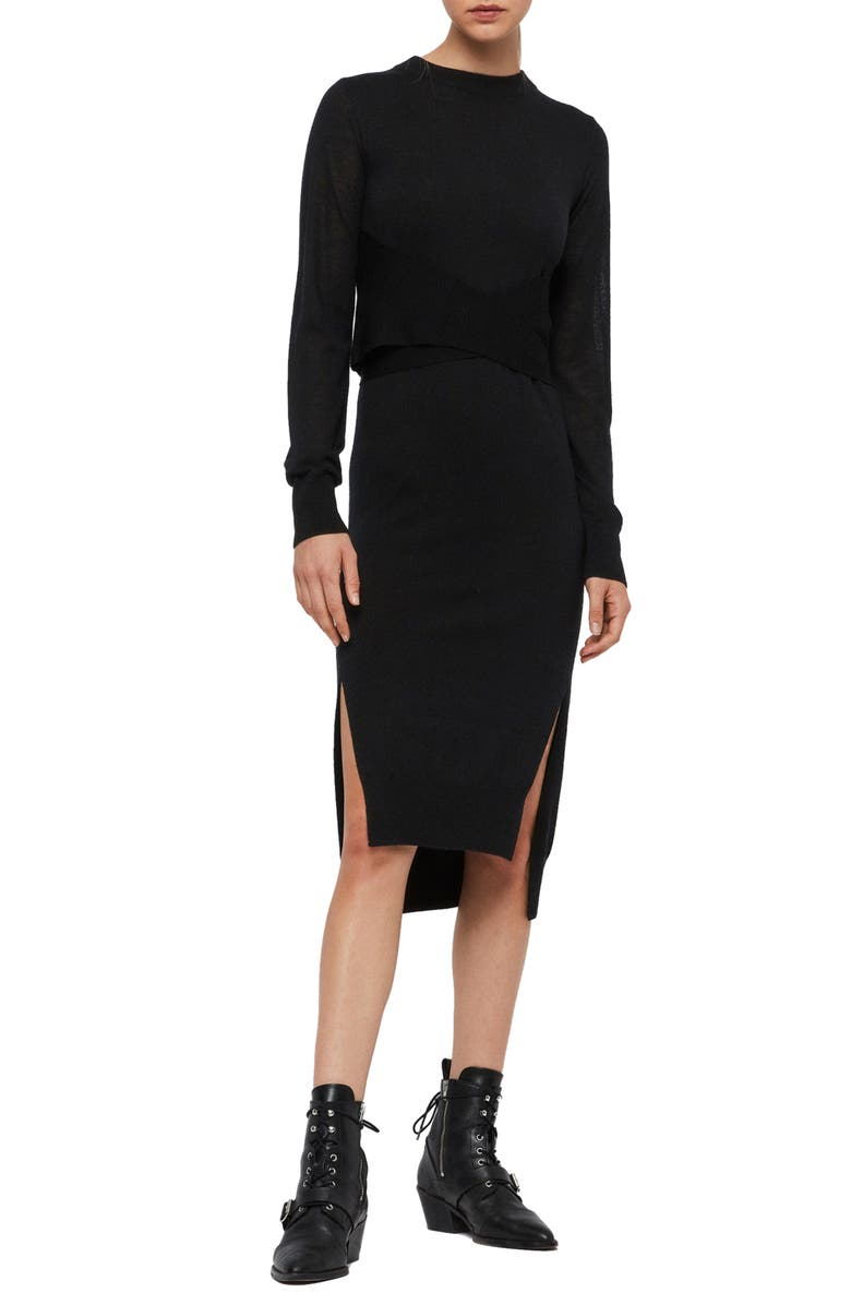 ALLSAINTS Flora Side Slit Long Sleeve Merino Wool Sweater Dress, Main, color, BLACK
