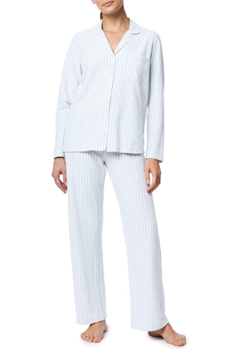 THE WHITE COMPANY Pink Stripe Brushed Cotton Pajamas, Main, color, BLUE STRIPE