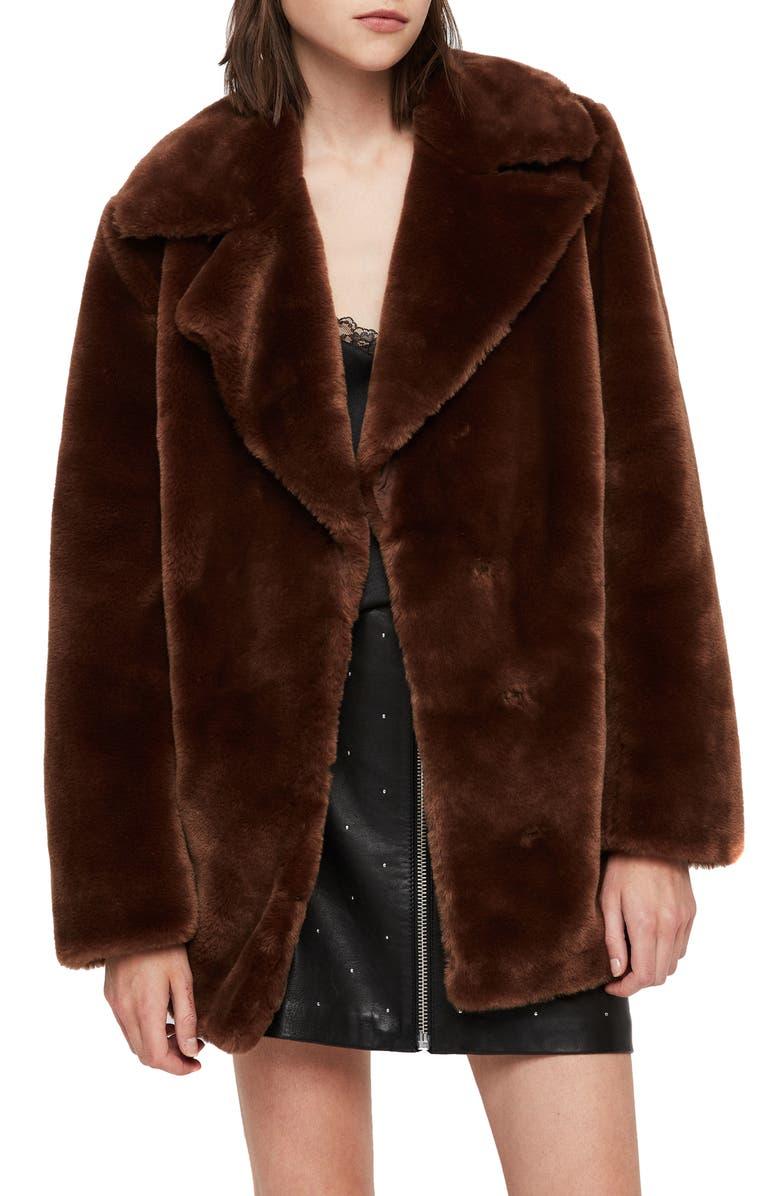 ALLSAINTS Amice Faux Fur Jacket, Main, color, 200