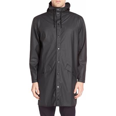 Rains Waterproof Hooded Long Rain Jacket, Black
