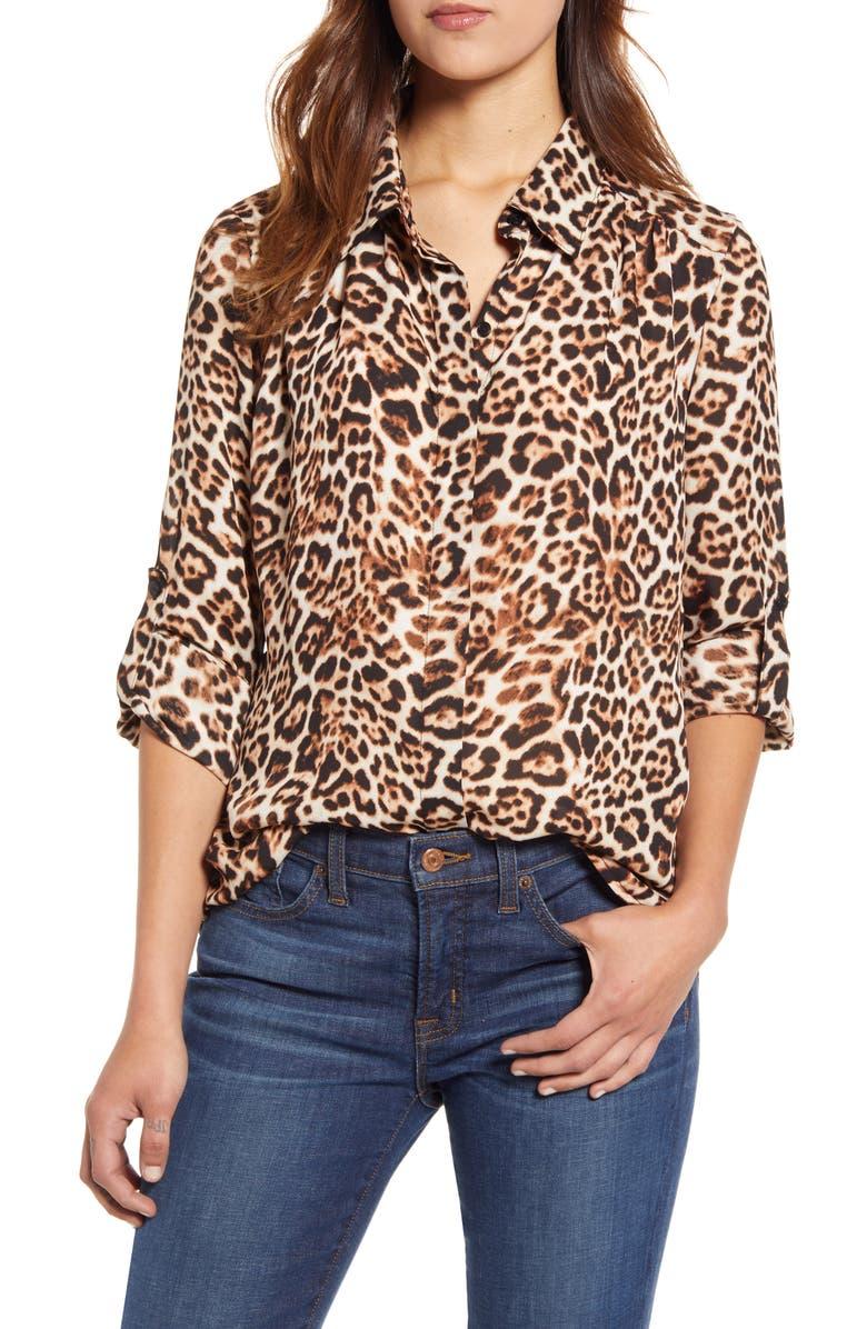 X City Safari Jaime Shrayber Animal Print Hidden Placket Shirt by Gibson