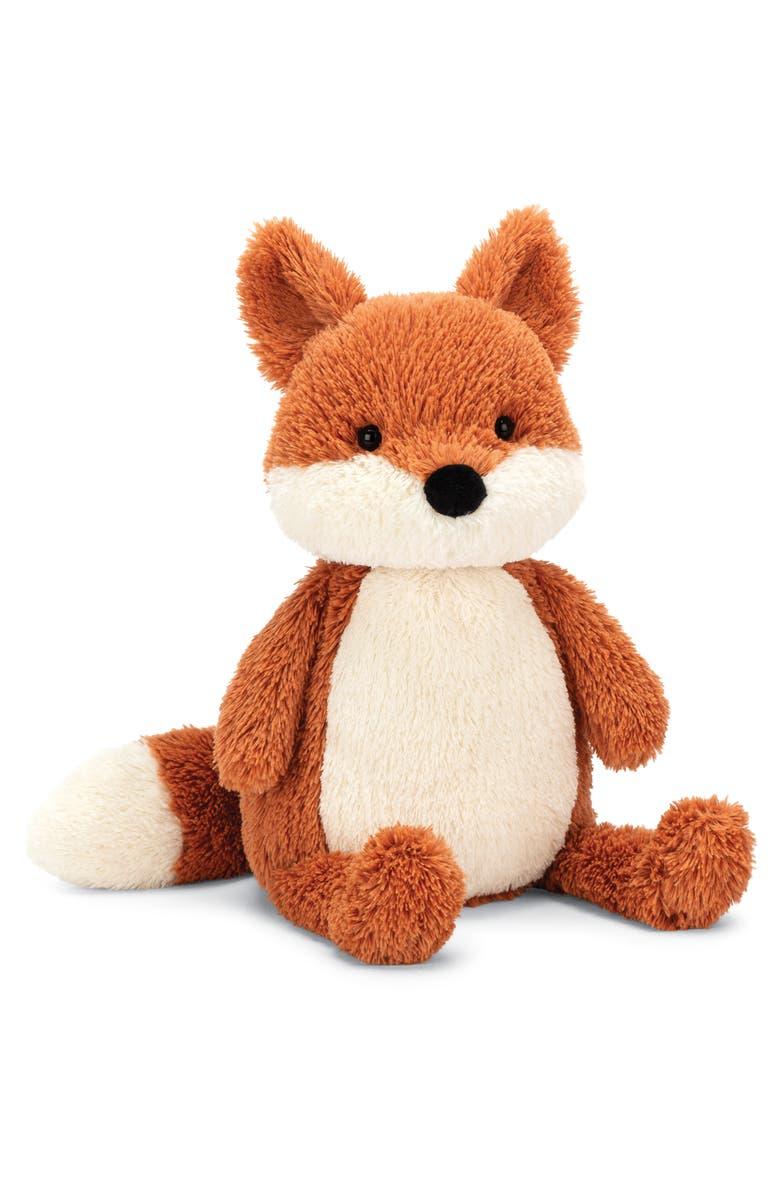JELLYCAT Medium Peanut Fox Stuffed Animal, Main, color, ORANGE