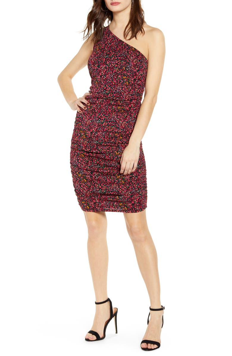 LEITH Ruched One-Shoulder Minidress, Main, color, 660