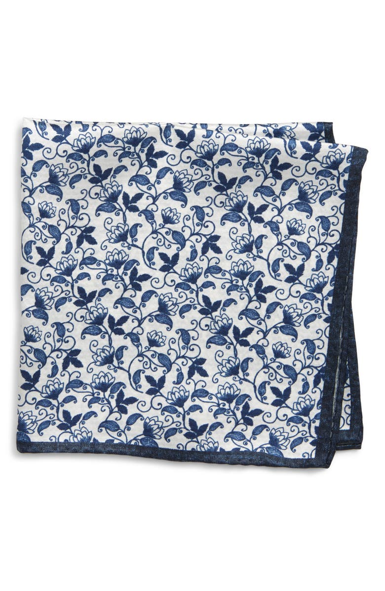 NORDSTROM MEN'S SHOP Vine Print Silk Pocket Square, Main, color, NAVY