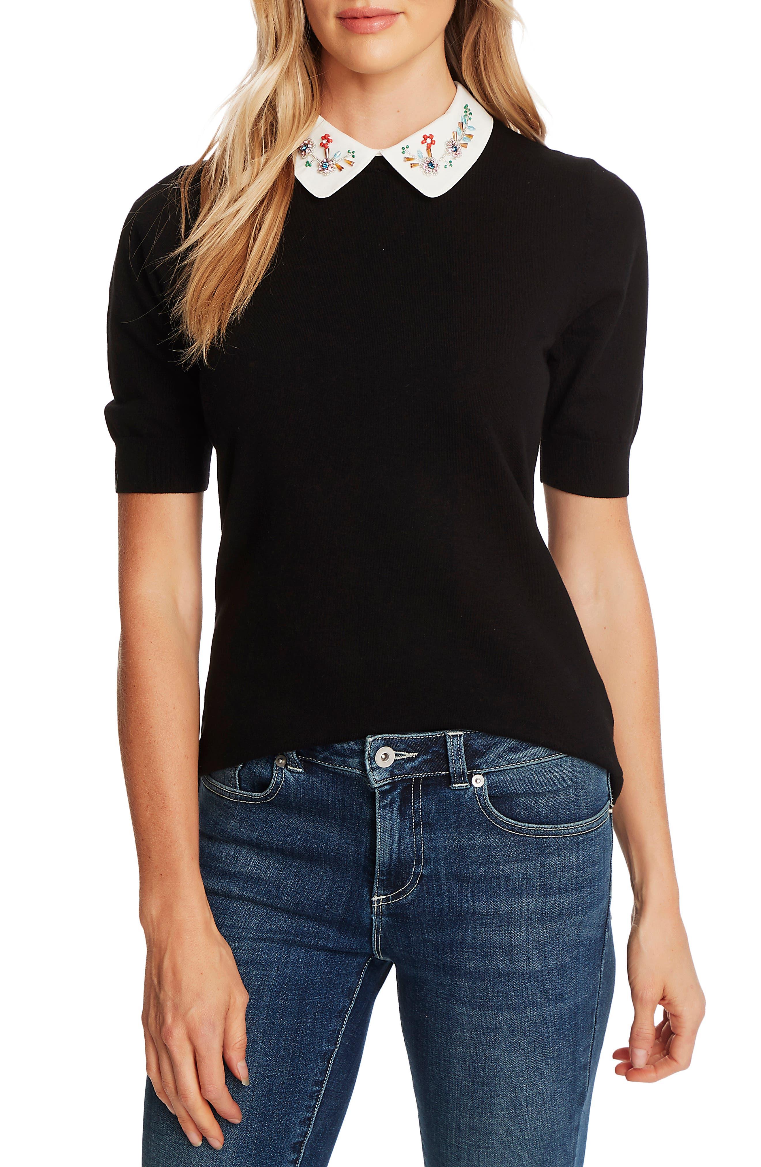 Vintage Tops & Retro Shirts, Halter Tops, Blouses Womens Cece Embellished Collar Short Sleeve Sweater $53.40 AT vintagedancer.com