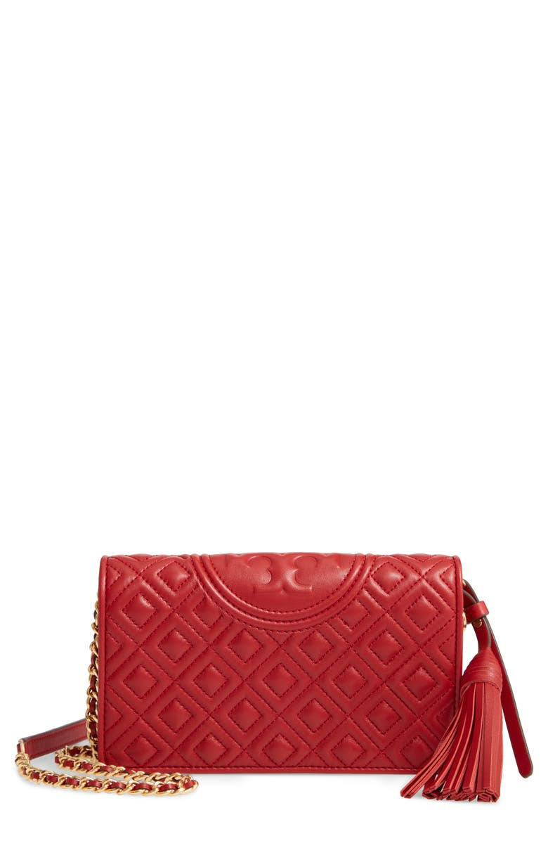 TORY BURCH Fleming Lambskin Leather Crossbody Wallet, Main, color, RED APPLE