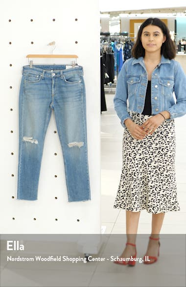 Dre Ripped Ankle Slim Boyfriend Jeans, sales video thumbnail