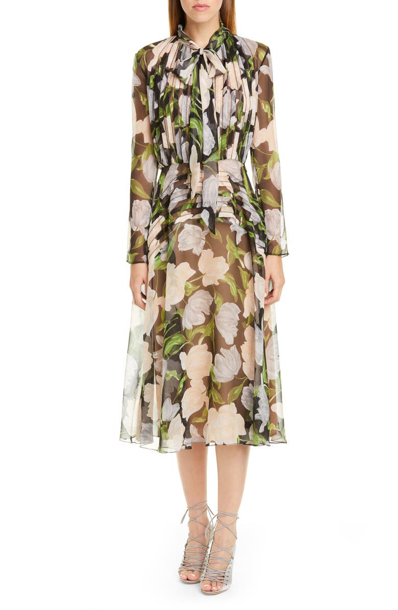 JASON WU COLLECTION Floral Silk Long Sleeve Midi Dress, Main, color, BLACK/ NUDE