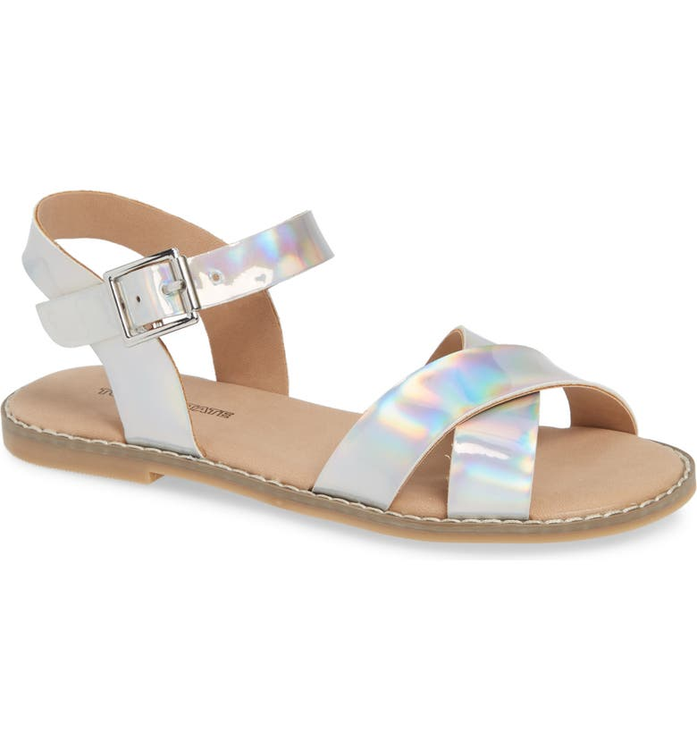 TUCKER + TATE Arya Cross Strap Sandal, Main, color, SILVER HOLOGRAM FAUX LEATHER