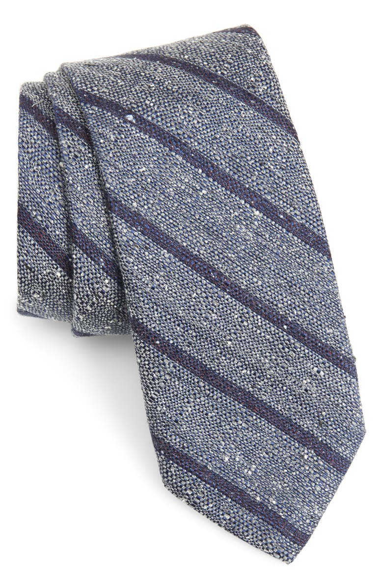 NORDSTROM MEN'S SHOP Armstrong Stripe Silk Tie, Main, color, CHARCOAL