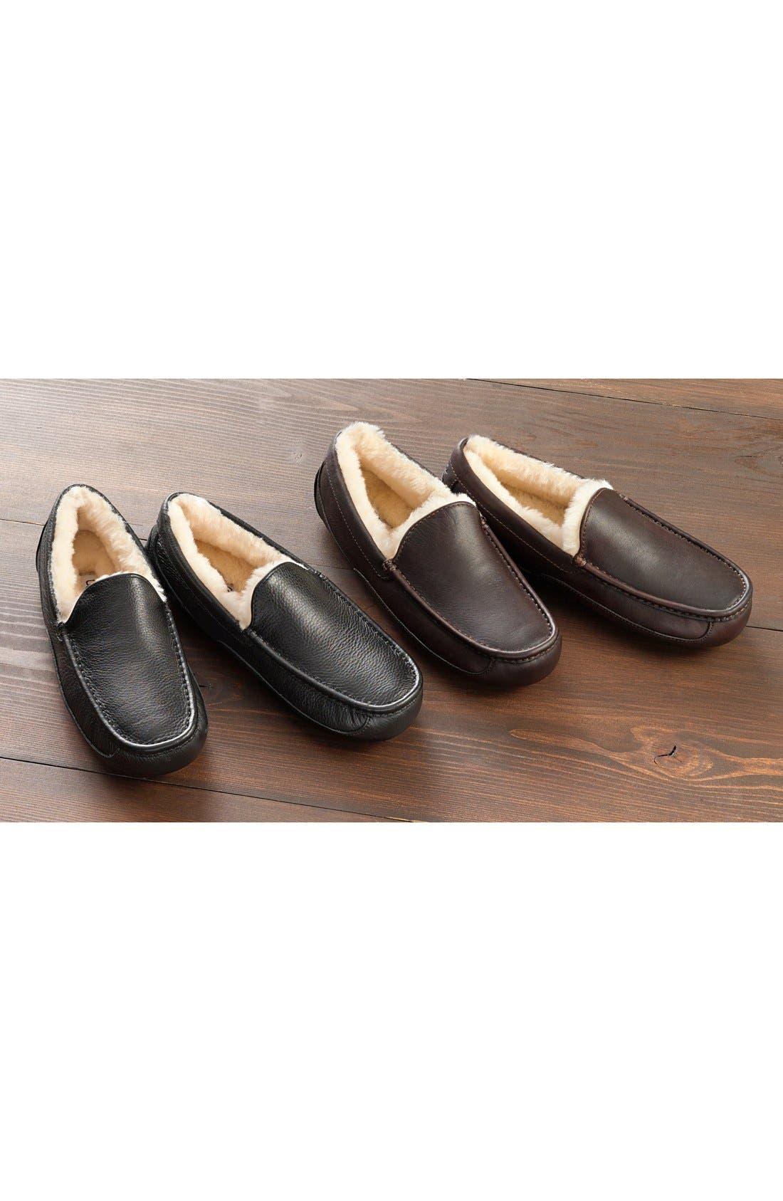 ,                             Ascot Leather Slipper,                             Alternate thumbnail 8, color,                             BLACK