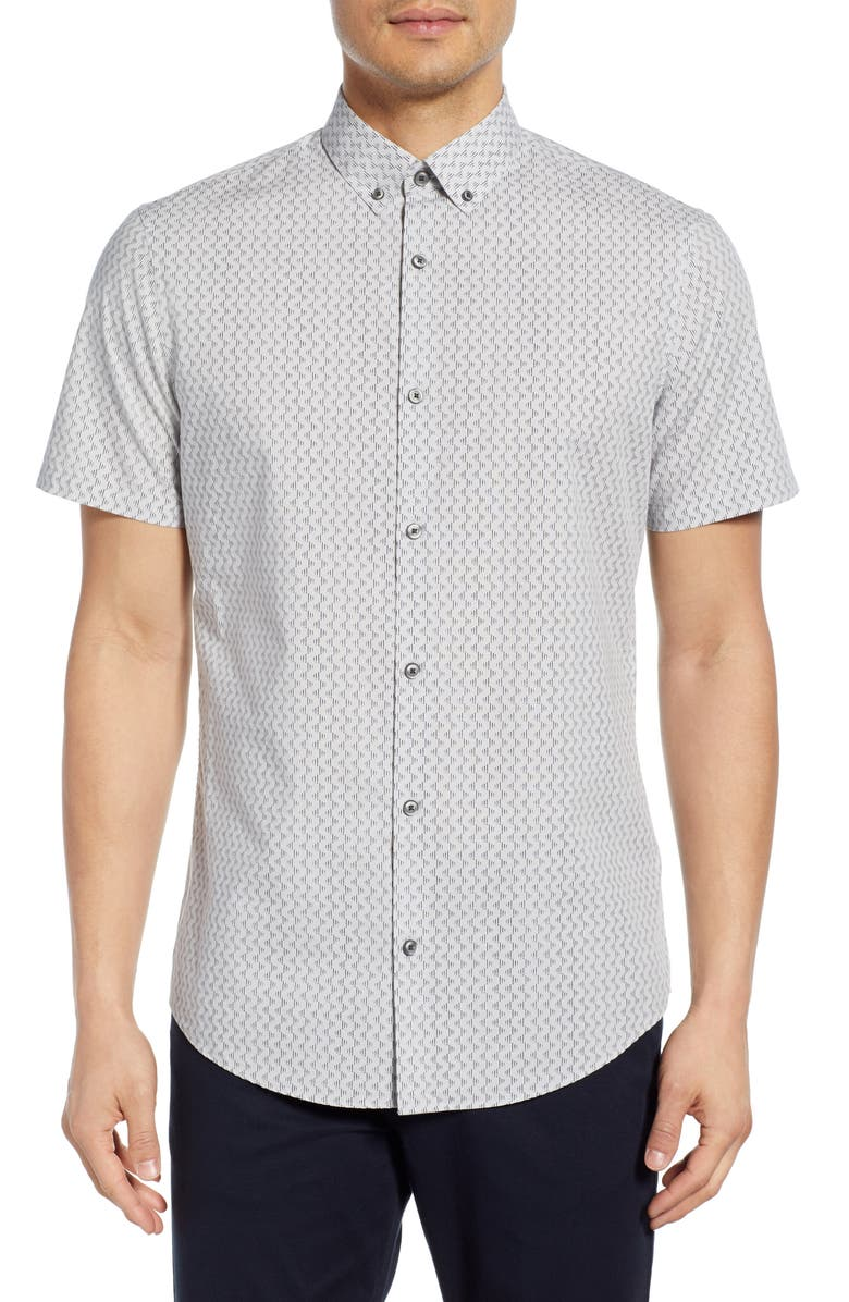 CALIBRATE Slim Fit Short Sleeve Button-Down Shirt, Main, color, GREY NAVY DASHES