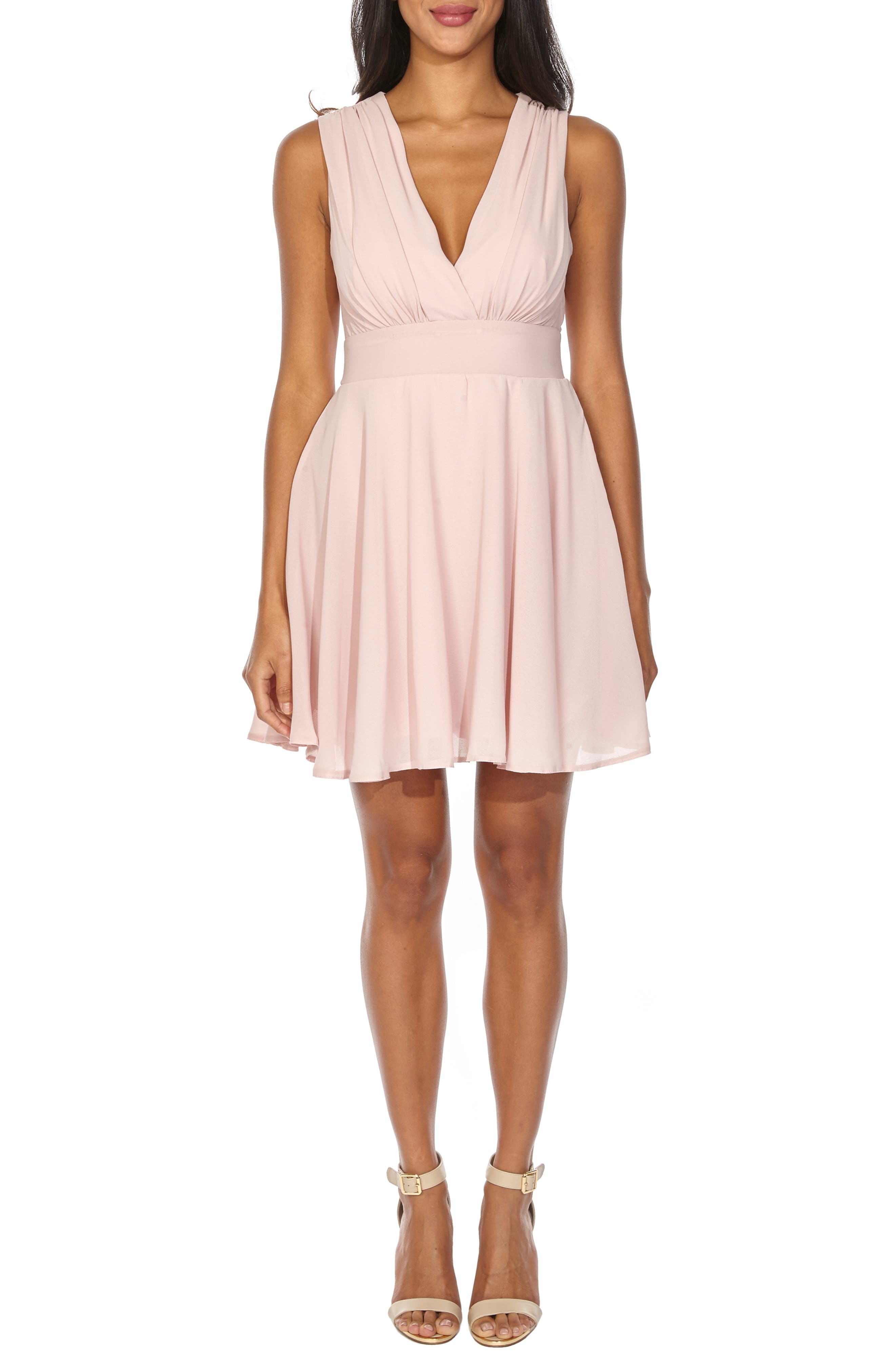 ,                             V-Neck Fit & Flare Dress,                             Main thumbnail 1, color,                             DUSTY PINK