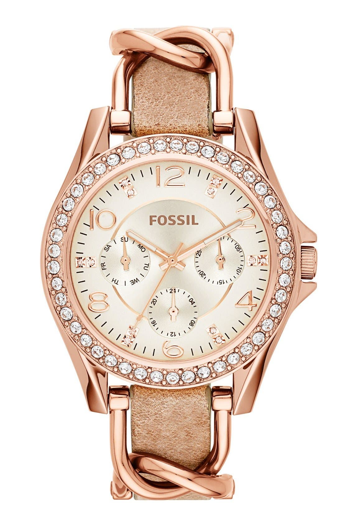 ,                             'Riley' Crystal Bezel Leather Strap Watch, 38mm,                             Main thumbnail 1, color,                             BONE/ ROSE GOLD